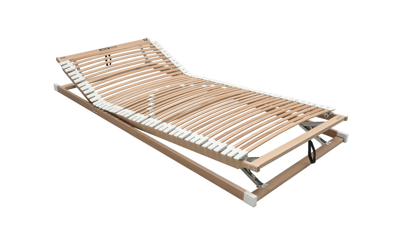 The BODYGUARD Slatted Frame with white caps and slightly raised head and foot sections. It has wooden slats made from beech wood, white rubber caps on the edges and white sliding bars in the middle.