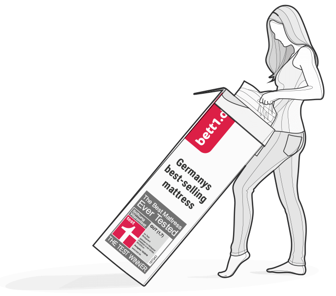 Illustration: A woman pulls the compressed and rolled BODYGUARD Mattress out of the box.