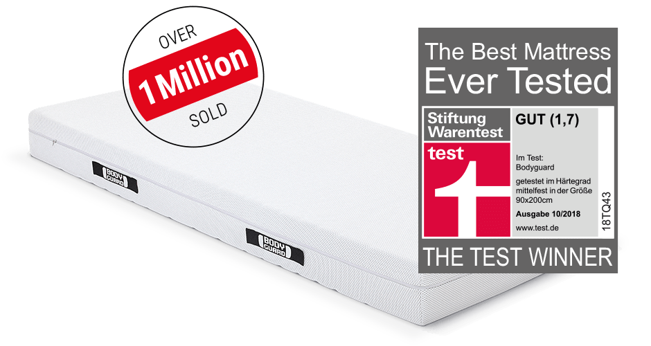 """The BODYGUARD Anti-Cartel-Mattress with an advertising interference saying """"over 1 million sold"""" and the test winner seal of Stiftung Warentest."""