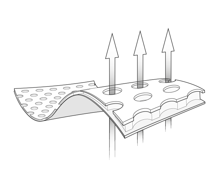 Illustration: Extending through the porous structure of the curved HyBreeze Cover are three vertical arrows, which symbolise breathability.